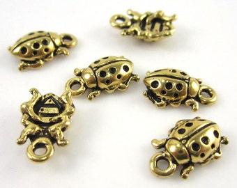 20 Gold Tierracast Ladybug Charms