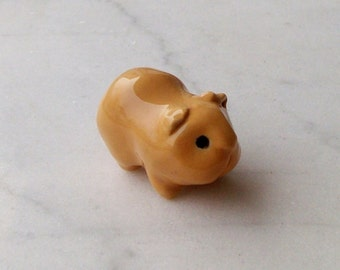 Guinea Pig Terrarium Figurine - Pottery Guinea Pig - Ceramic Small Pet - Tan Guinea Pig Miniature - Terrarium Miniature - (Studio Choice)
