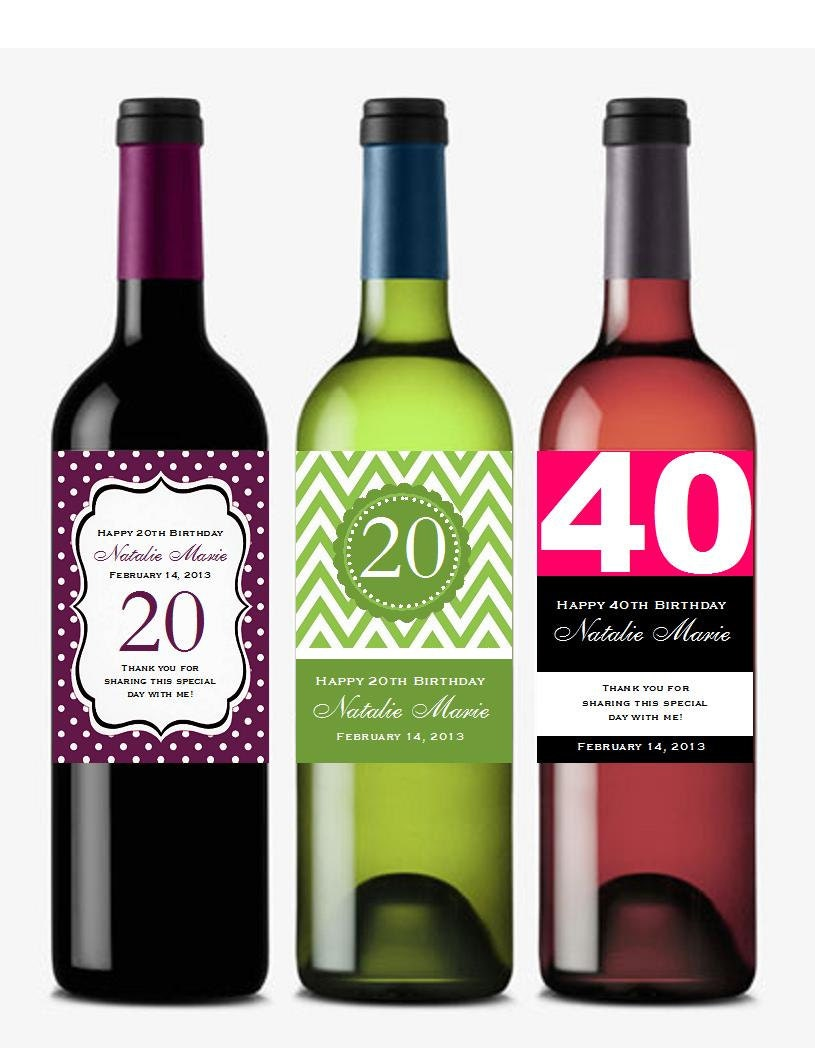 personalized BIRTHDAY PARTY wine bottle labels by shadow090109