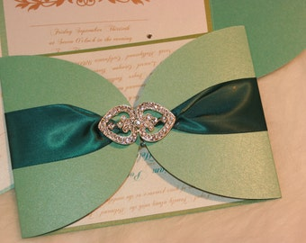 Elegance Wedding Invitation -Blue Invitation -Wedding Invitation -  Custom Invitation-