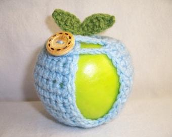 Handmade Crocheted Apple Cozy - Crochet Apple Cozy in Soft Blue Color