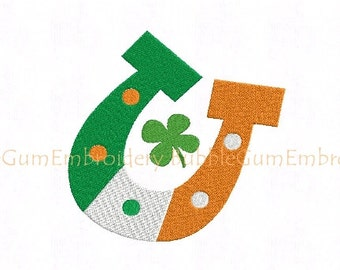 Irish Flag Horseshoe Embroidery Design Instant Download