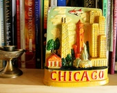 Vintage Hand Painted Chicago Souvenir Carnival Chalkware Bank Mid Century
