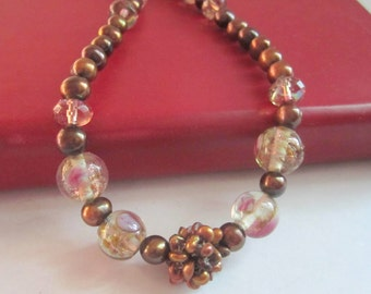 Freshwater Pearl Necklace Beaded Necklace Glass and Crystals on Copper - Dahlia