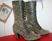 Victorian High Heels Boots in worn leather 1900 boots Edwardian boots