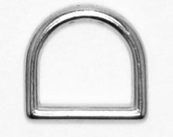 "3/4"" D-Ring, Quantity 25, Cast Steel, Nickel Finish"