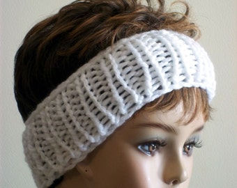 Knit Headband White for Women and Teens