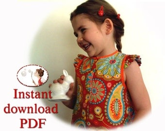Baby Top Sewing Pattern . Digital Download . Girl sewing pattern . Sewing tutorial . Blouse . PDF.  sizes 12 Months to 6T . 86EU to 116Eu