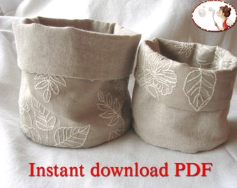 Sewing Pattern for Reversible Storage Bins - DIY - PDF
