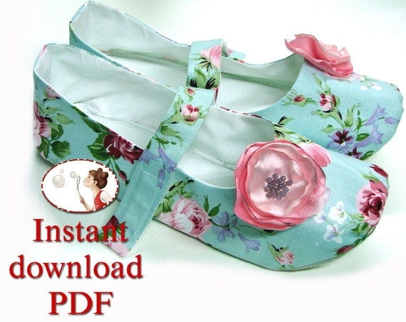 Sewing Pattern Women Slippers Mary Jane Shoes By
