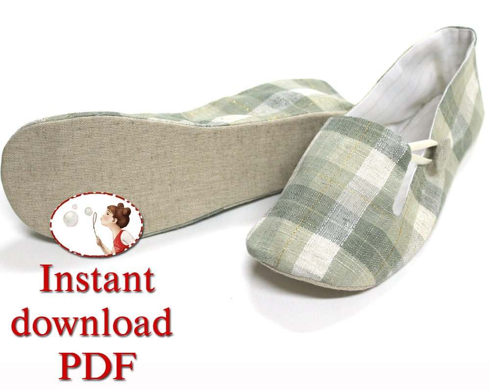 Sewing Shoes Pattern. Women's. Loafer. Slippers. pdf. diy.
