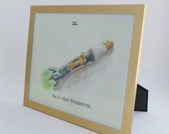 Framed Print, Sonic Screwdriver in gold frame
