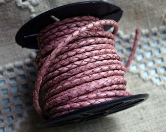1 meter of 3mm Pink  Braided Bolo Leather Cord