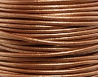 1mm Round Leather Cord Metallic Bronze 2 yards 1.83m