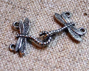 2pcs Clasp Antiqued Silver Pewter Hook-And-Eye 33x18mm Dragonfly Hook With Ring