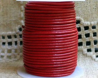 5 Yard Cord Natural Leather 2mm Round Shiny Red
