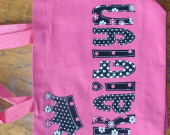 Girl's Personalized Princess Tote (with crown applique)