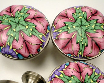 8 UNIQUE Cabinet Knobs /Cabinet Pulls Handmade Polymer Clay Rose, Lime,Lavender  Set of 8   Metal and Clay