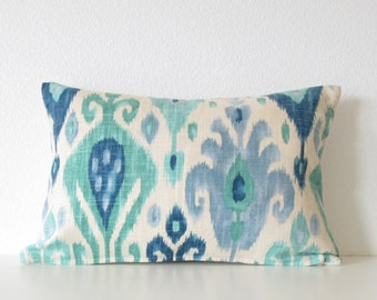 Django Turquoise Ikat ivory blue decorative pillow cover