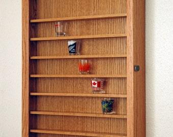 72 Oak shot glass display case wall cabinet rack