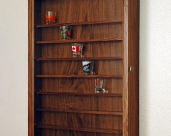 72 Walnut shot glass display case wall cabinet rack shelves