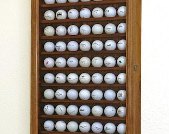 70 Golf Ball Display Case Wall Cabinet-Walnut Hardwood