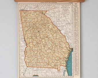 1930s Antique State Maps of Georgia and Idaho