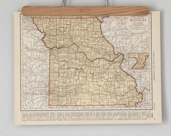 1930s Antique State Maps of Missouri and Montana