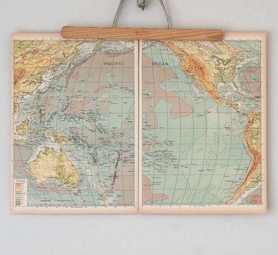 Antique Maps / Ocean Charts / 1940s Maps of the Pacific Ocean, Atlantic Ocean, and Arctic Regions