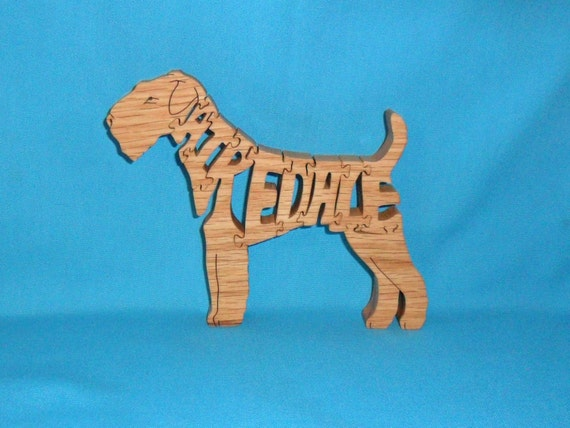 Airedale Dog Handmade Scroll Saw Wooden Puzzle