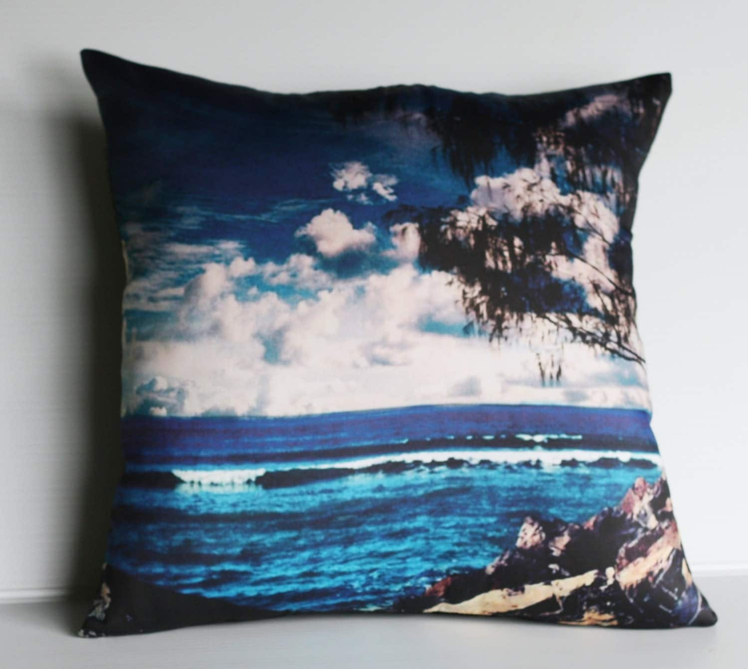 Beach Scene Throw Pillows : decorative cushion beach pillow BEACH SCENE organic