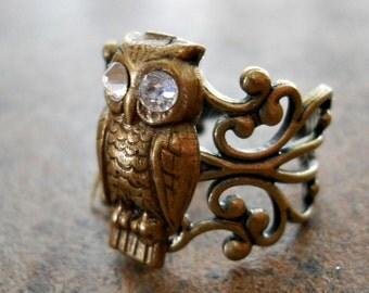 Wise Owl Enchanted Steampunk Brass Ring, Brass Owl Ring with Swarovski Eyes