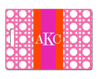 Personalized luggage tag monogram pink cane pattern choose colors and text