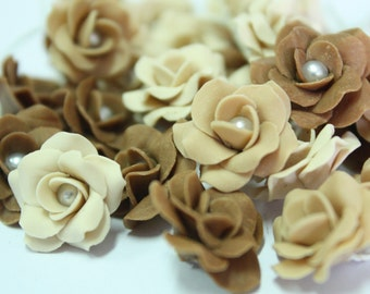 Miniature Roses Polymer Clay Flowers Supplies for Beaded Jewelry 12 pcs. in shade of Dark Coffee Caramel, 3 tones