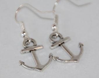 Silver Anchor Dangle Earrings