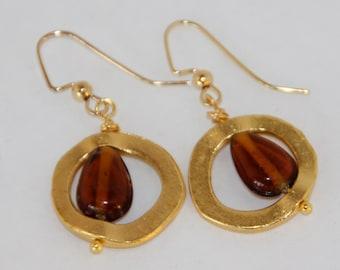 Gold Circles and Amber Bead DangleEarrings