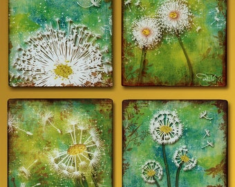 Dandelion Set of 4  Handmade Glass and Wood 5 Inch Square Wall Blox  - GeoForms Collection - The Four Wishes