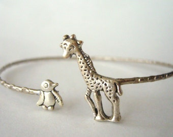 Giraffe cuff bracelet with a penguin wrap style, animal bracelet, charm bracelet, bangle