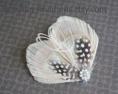 TIA Speckled -- Champagne Ivory Peacock Feather Hair Clip w/ Guinea, Herl & Sparkling Rhinestones, For Brides, Bridesmaids and Flower Girls