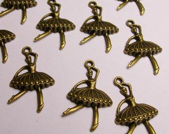 Ballerina charms - 12 pcs - bronze - brass - Ballet - antique bronze ballerina - Baz 15