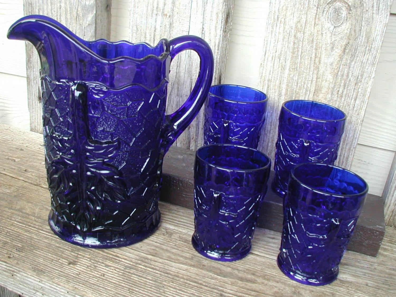 Vintage Cobalt Blue Pressed Glass Pitcher And 4 Glasses Leaf