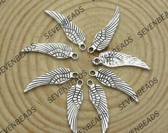 50pcs 16x5mm Antique Silver wings pendant Charm--necklace pendant--bracelet findings