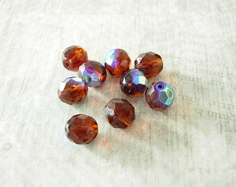 Dark Topaz AB, 10 mm, Vintage Czech Glass,  Faceted, Round Bead, (12 beads) chestnut, copper, mahogany, jewelry making beads.