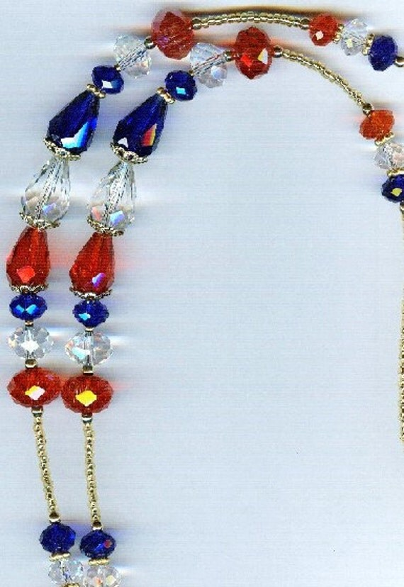 Patriotic Red White & Blue Glass Crystal Eyeglass Chain or ID Badge Lanyard