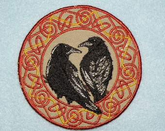 Celtic Ravens Iron on Patch- Small