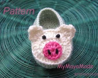 Crochet Pattern - Piggy Mint Green Crochet Baby Booties PDF Pattern - BT03142013-03 - Instant Download