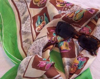 50s Kitschy Beatnik Bohemian Silk Scarf