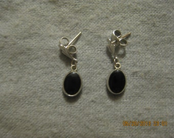 Black Onyx Silver Dangle Earrings