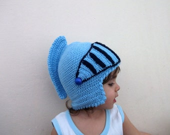Crochet Knight Hat -Gladiator-Medieval knight helmet hat-Knight Hat with Movable and Detachable Face Mask-for fantasy and adventure play