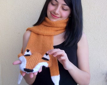 Hand Knitted fox scarf,seamless